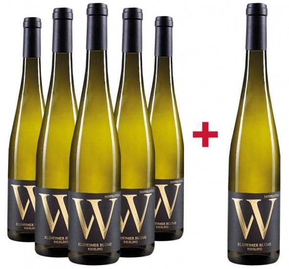 5+1 Paket Elsheimer Blume Riesling trocken - Weingut Wasem Doppelstück