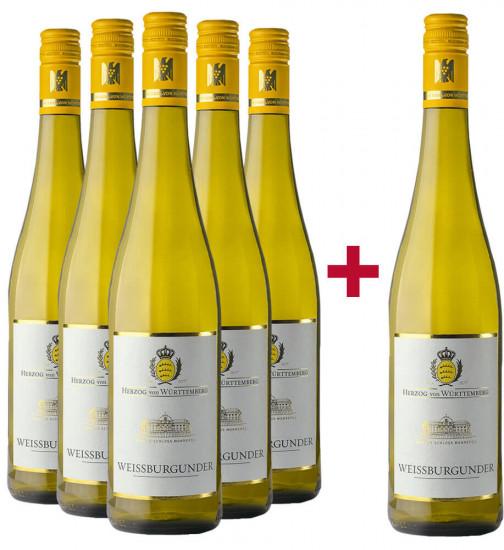 5+1 Paket Weißburgunder halbtrocken - Weingut Herzog von Württemberg