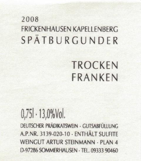 2017 Sommerhausen Steinbach Spätburgunder trocken - Weingut Artur Steinmann