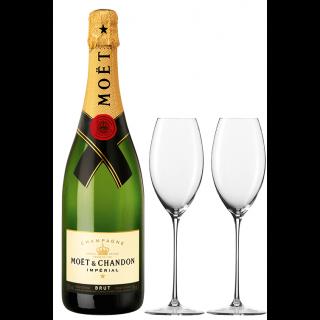 Champagne Moet Chandon Imperial trocken Paket - 2er Set Enoteca Zwiesel Champagnerglas