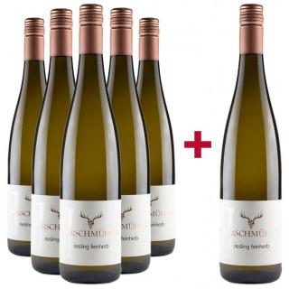 5+1 Riesling feinherb Paket - Wein- und Sektgut Hirschmüller