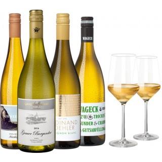 Deutschland Weißwein Genießer-Paket inkl. 2 Gläser