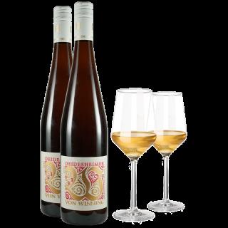 Deidesheimer Riesling + 2er Set Zwiesel Pure Weißwein Gläser
