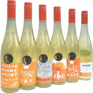 """2016 """"feiern ohne Wein"""" oder """"Queen off the Day"""" oder """"Kreativität"""" oder """"lebe"""" oder """"Held des Tages"""" Riesling QbA lieblich - Weingut Heinz-Willi Dechent"""