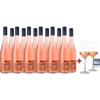 2018 Dackermann Spätburgunder Rosé vom Kalkstein 12-Flaschen-Paket inkl. 2 Schott Zwiesel PURE Weingläser