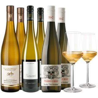 VDP Weißwein Premium Paket 6 Flaschen + 2 Gläser