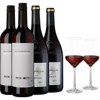 Deutschland Rotwein Genießer Paket inkl. 2 Gläser