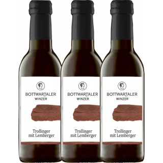 3x 2017 Trollinger mit Lemberger halbtrocken 0,25 L - Bottwartaler Winzer