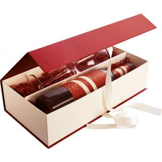2er Geschenkverpackung bordeaux/creme mit Schleife und Klappdeckel