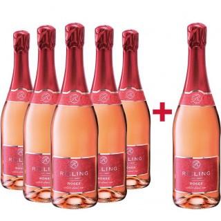 5+1 Paket Rilling Rosé Sekt halbtrocken - Rilling Sekt