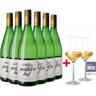 6 Flaschen Rivaner Paket inkl. Gläser