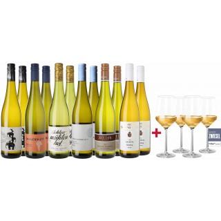 Großes Riesling Paket + 4 Schott Zwiesel PURE Weißweingläser